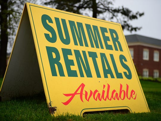 A summer rentals sign sits out Jack Lingo's reality located off of Kings Highway in Lewes on Tuesday, April 25, 2017.