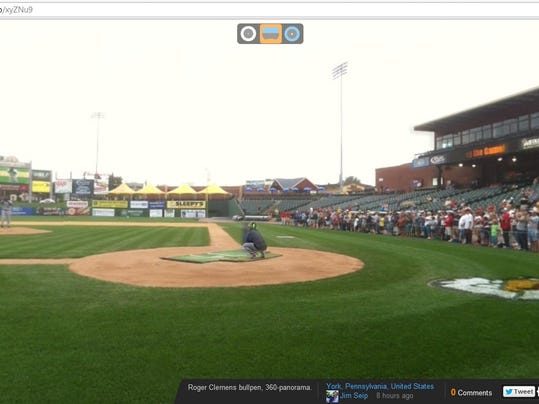 Jim Seip took a 360-degree panorama photo while Roger Clemens was throwing a side session at Sovereign Bank Stadium in York on Tuesday. Click the photo to see the interactive photo, which you can rotate to see the whole scene.