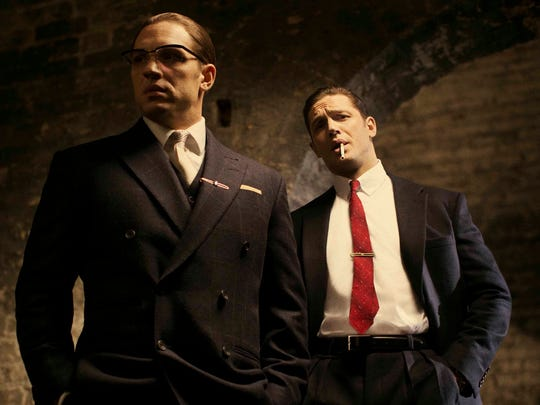 "Tom Hardy in his latest roles as Ronnie (left) and Reggie Kray in the film, ""Legend."""