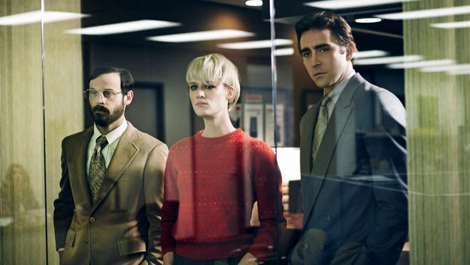 """Ex-IBM worker Joe McMillan (Lee Pace, right) recruits a sales engineer (Scoot McNairy, left) and college programming prodigy (Mackenzie Davis) to help him create the first PC clone in """"Halt and Catch Fire."""""""