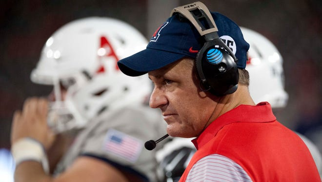 Sep 17, 2016: Arizona Wildcats head coach Rich Rodriguez watches from the sideline during the fourth quarter against the Hawaii Warriors at Arizona Stadium.