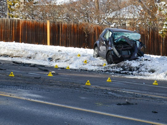 A woman was killed after an oncoming truck smashed into her small sedan along Horsetooth Road Jan. 7, 2017. Fort Collins police investigated the scene throughout the afternoon.
