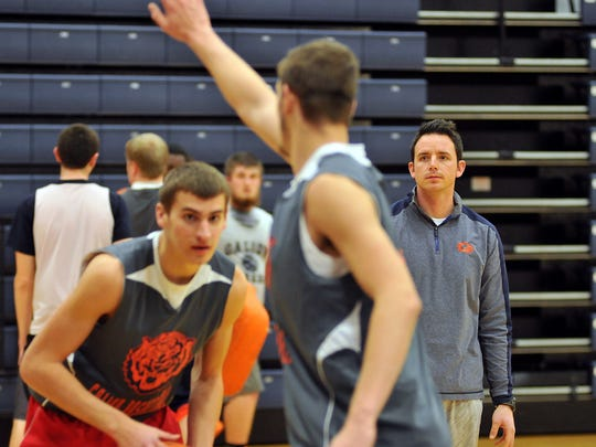 Galion's first-year coach Colby Bright watches drills