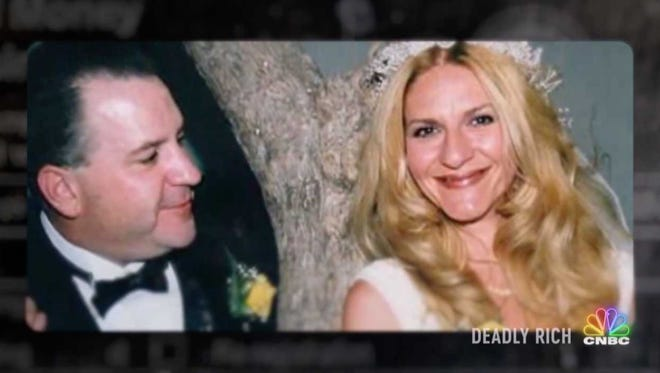 """This is a still from a CNBC true crime show called """"Deadly Rich"""" that told how Pamela Fayed, 44, was killed in 2008 after her estranged husband James Fayed, now 55, arranged her murder. James Fayed was convicted in her slaying and now awaits execution on death row."""