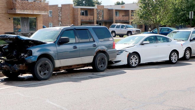 These three vehicles in the 600 block of North Lakeview Avenue in Sturgis were damaged early Sunday when a vehicle, allegedly driven by Sturgis Public Safety Director Geoffrey Smith, struck another head-on, pushing that vehicle into the other two parked cars.