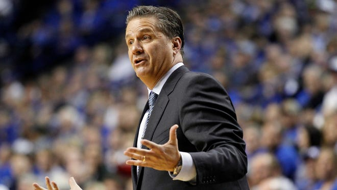 Nov 30, 2015; Lexington, KY, USA; Kentucky Wildcats head coach John Calipari reacts to a call during the game against the Illinois State Redbirds in the second half at Rupp Arena.
