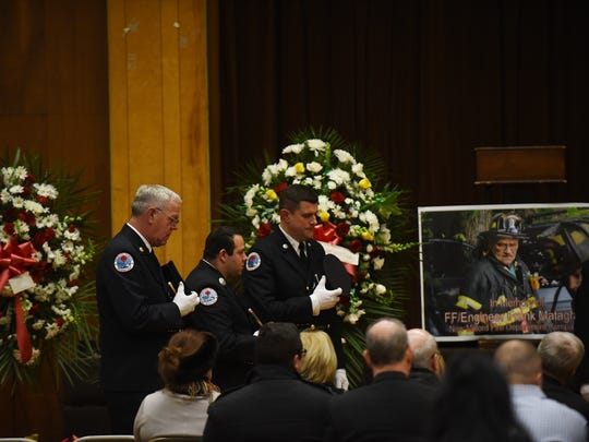 Memorial service for New Milford firefighter Frank Matagrano on Friday December 29, 2017.