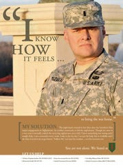 William Milzarski of Bath Township modeled for a poster for a 2012 U.S. Army campaign that sought to reduce the stigma of seeking help with PTSD and other struggles.