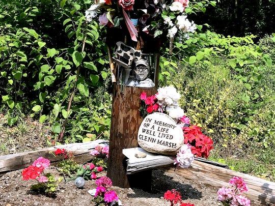 A memorial for Glenn Marsh of Odessa, who was killed