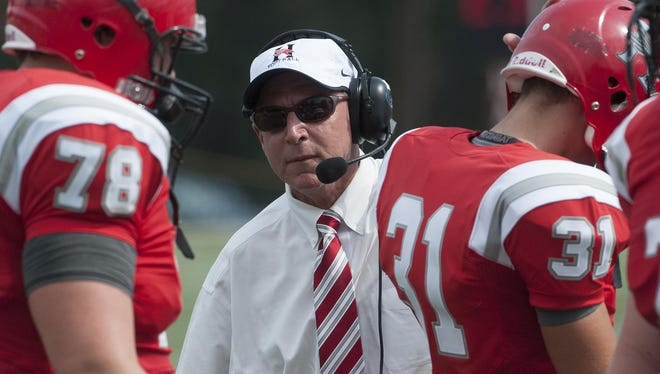 Huntingdon coach Mike Turk against Louisiana College in Montgomery, Ala. on Saturday September 5, 2015.