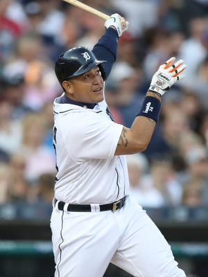 Tigers first baseman Miguel Cabrera homers during the third inning of the Tigers' 5-4 win Monday at Comerica Park.