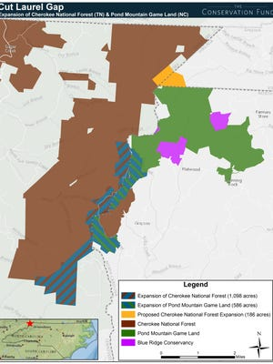 This map shows land acquired recently, including 1,098 acres added to Cherokee National Forest.