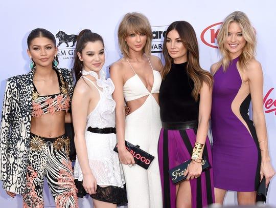 Zendaya, left, Hailee Steinfeld, Taylor Swift, Lily