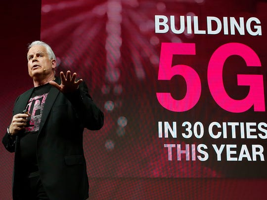 Chief Technology Officer Neville Ray details T-Mobile's plans to build a nationwide 5G network in the U.S. at Mobile World Congress on Tuesday, Feb. 27, 2018 in Barcelona, Spain.