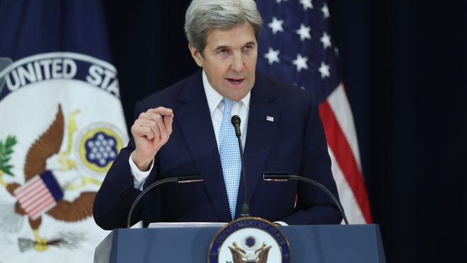 Secretary of State John Kerry speaks about Israeli-Palestinian policy Dec. 28 at the State Department in Washington.