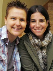 Amy Sandler, right, and her wife, Niki Quasney, are