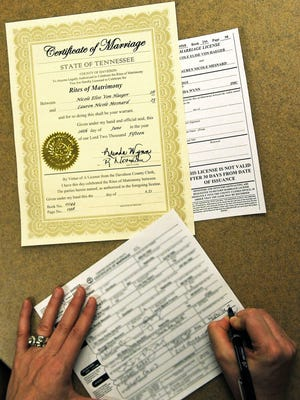 Paperwork is filled out for the first same-sex marriages performed in Davidson County.
