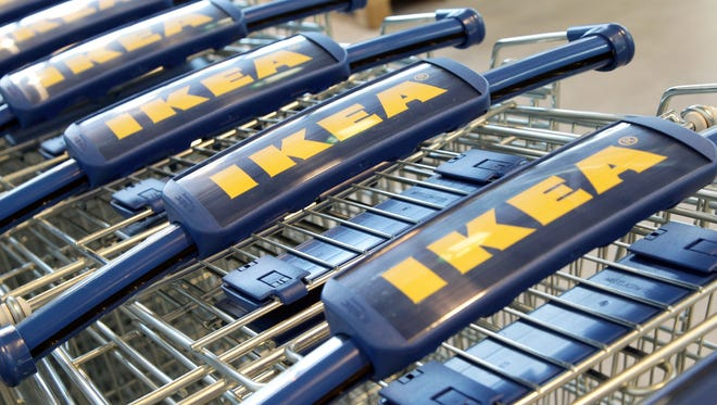 Ikea shopping carts stand in line