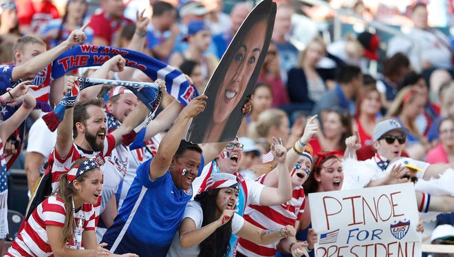 United States supporters cheer prior to a match against Sweden in FIFA Women's World Cup soccer action in Winnipeg, Manitoba, Canada, Friday, June 12, 2015.