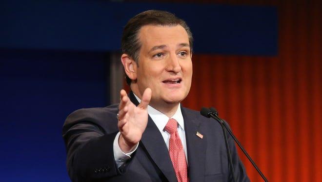 Sen. Ted Cruz participates in the Republican presidential debate on Jan. 15, 2016.