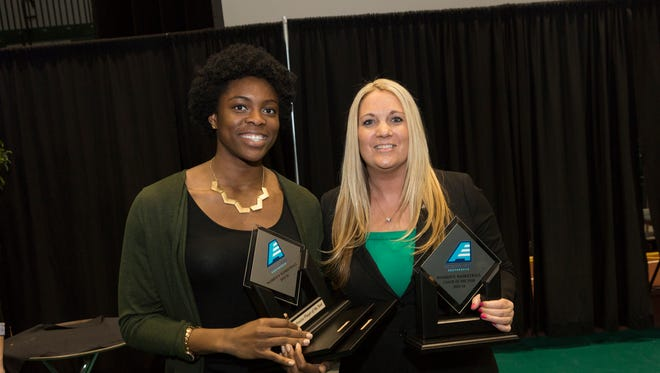 Binghamton sophomore Alyssa James, left, and Binghamton women's basketball coach Linda Cimino. James earned America East Conference Defensive Player of the Year and Cimino won Coach of the Year in an awards banquet held on Friday night in the Events Center.