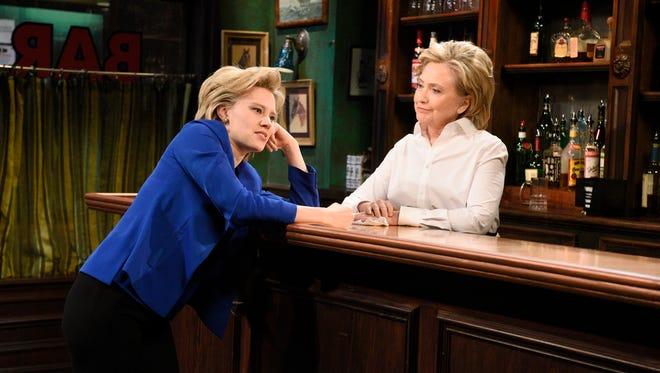 Kate McKinnon and Hillary Clinton on SNL on Oct. 3, 2015.