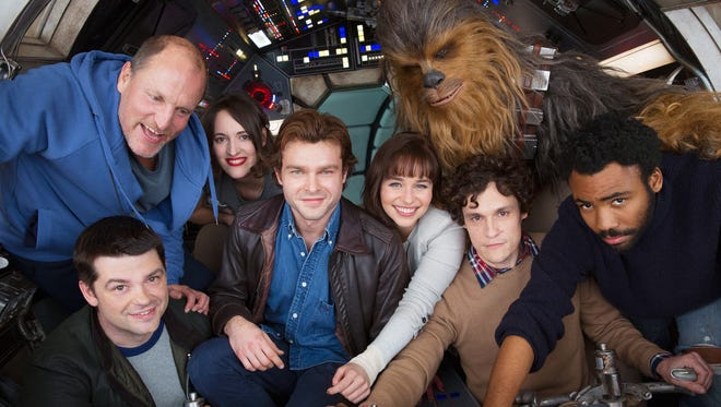 Alden Ehrenreich (center) and the cast —plus two former directors —of the still-untitled young Han Solo 'Star Wars' movie.
