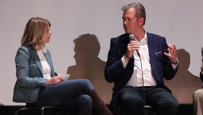 """Detroit Free Press writer Elisha Anderson, left, speaks with television journalist Chris Hansen during the discussion panel following the world premiere of the documentary """"White Boy."""""""
