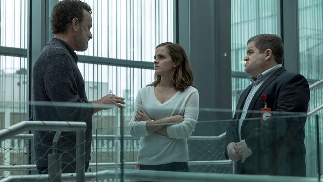"""Tom Hanks (left) leads a visionary tech-company with big plans, that include new employee Emma Watson and company co-founder Patton Oswalt in """"The Circle."""""""