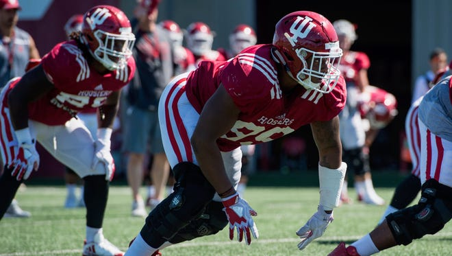 Defensive lineman Allen Stallings IV #99 of the Indiana Hoosiers   during Fall camp practice on the football practice field in Bloomington.