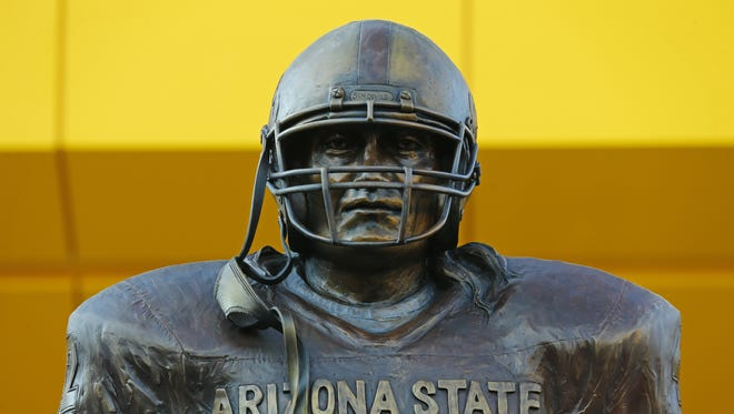 Pat Tillman statue at the entrance to the ASU lockerroom during an unveiling ceremony at Sun Devil Stadium Wednesday, Aug. 30, 2017, in  Tempe.  Ariz.
