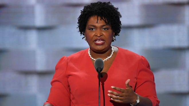 Stacey Abrams speaks during the 2016 Democratic National Convention in Philadelphia.