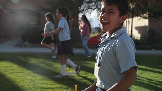 Isaiah Fierro, a student from the Junior Historians Program, plays horseshoes at the Coachella Valley History Museum, February 12, 2018.