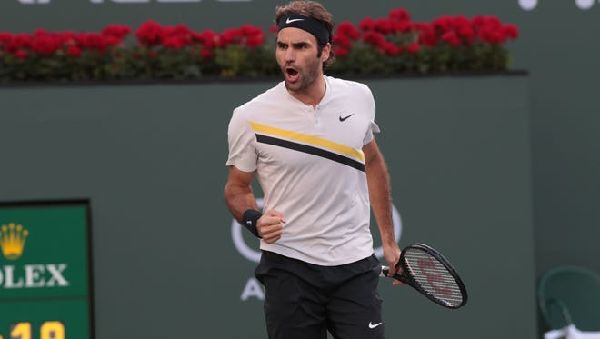 Roger Federer reacts after a break point in the second set of his match against Jeremy Chardy at the BNP Paribas Open, Wednesday, March 14, 2018.