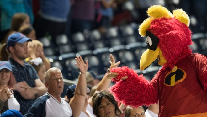 Booster interacts with fans during the Nashville Sounds' 4-1 victory against the Iowa Cubs at First Tennessee Park on Friday, July 6, 2018, in Nashville, Tenn.