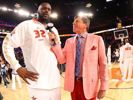 Shaquille O'Neal is interviewed by TNT's Craig Sager