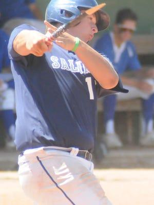 The Salina Falcons' Zach Issacson breaks his bat in the third inning against against Millard North during last year's Annual Kansas Grand Slam Tournament.