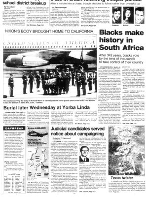The front page of The Greenville News on April 27, 1994.