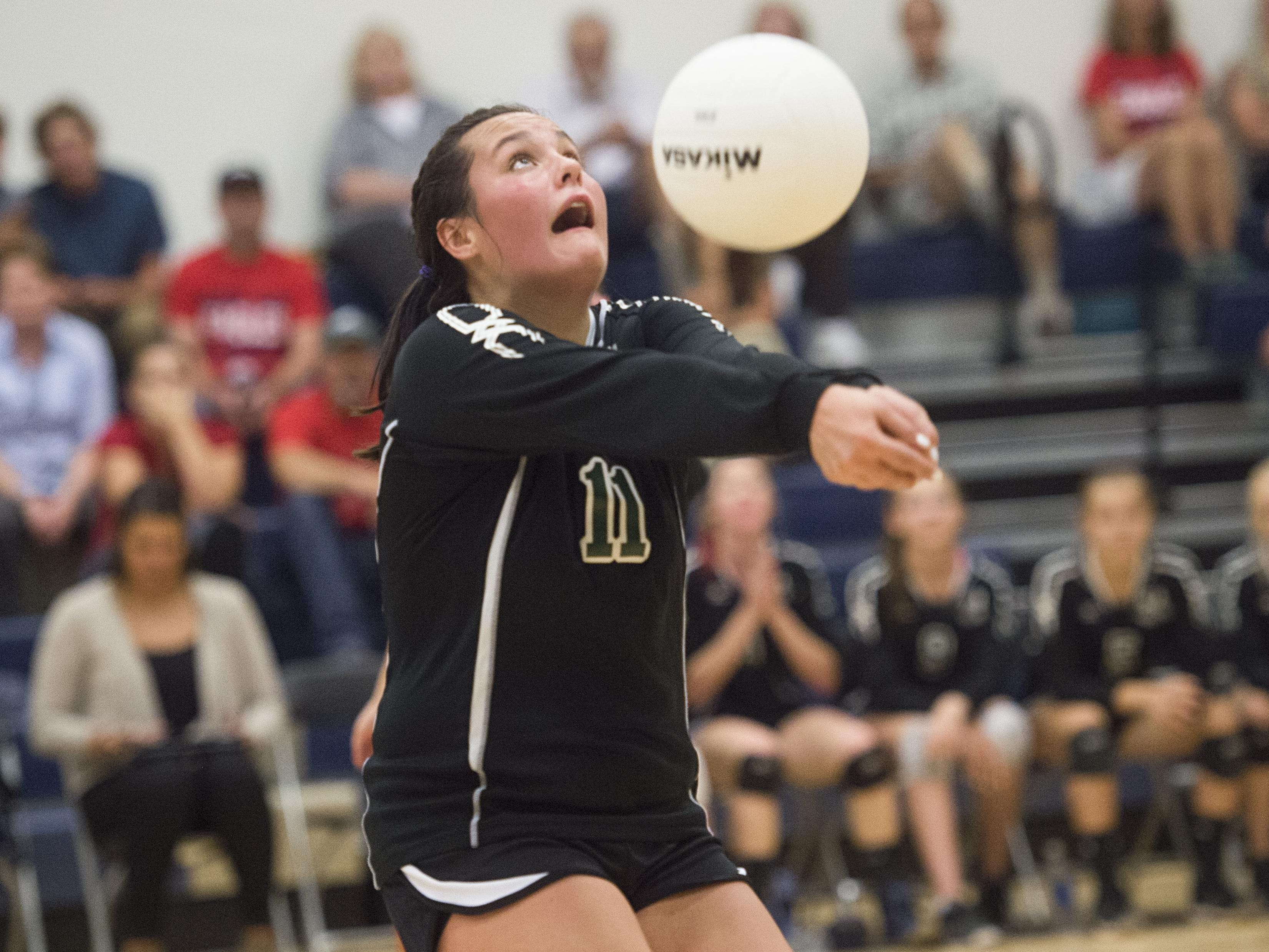 Rylee Nickodemus of Heritage Christian Academy is in the top five among Fort Collins-area volleyball players in aces and assists.