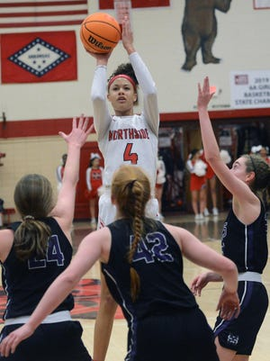 Northside's Jersey Wolfenbarger shoots a 3-pointer over several Mount St. Mary's defenders during a game on Feb. 14.