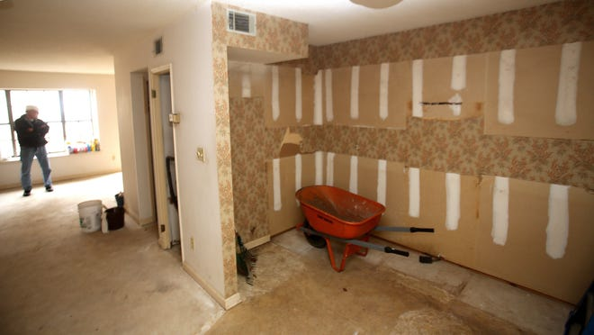 The entire interior of  a home has been stripped to get ready for rennovation.