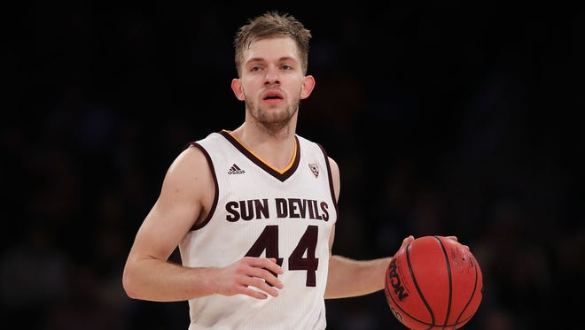 Kodi Justice #44 of Arizona State dribbles up court against Purdue in the second half during the Jimmy V Classic at Madison Square Garden on December 6, 2016 in New York City.