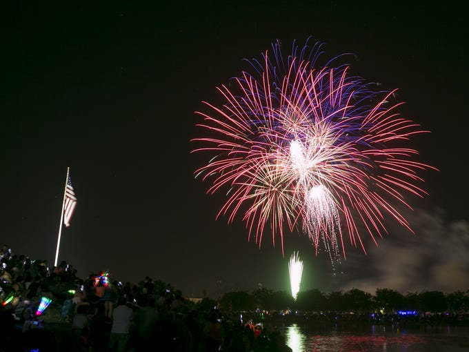 Fireworks launch over Steele Indian School Park on