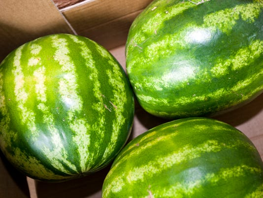 High angle view of watermelons in grocery store