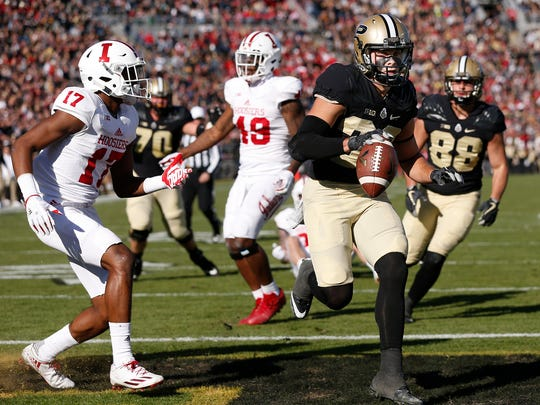 Jackson Anthrop of Purdue rushes for a touchdown at 4:49 in the second quarter against Indiana in the battle for the Old Oaken Bucket Saturday, November 25, 2017, at Ross-Ade Stadium.
