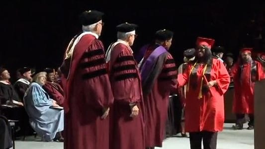 The President of Sussex County Community College has announced his intention to resign from his position later this year. Pictured here, the president and academic administrators distribute diplomas at Davenport University in Grand Rapids, Michigan. commencement.