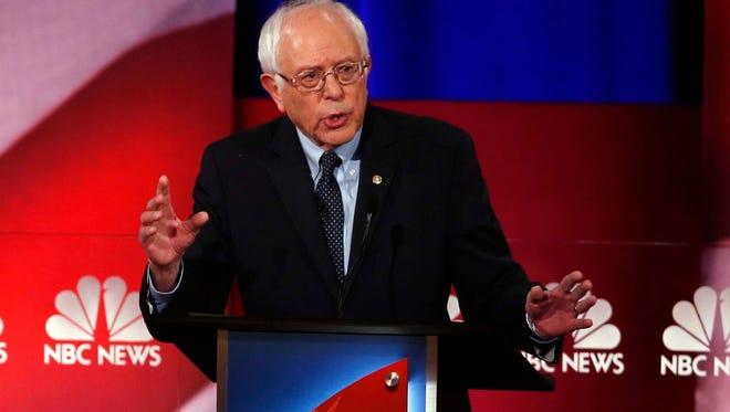Democratic presidential candidate, Sen. Bernie Sanders, I-Vt,  speaks at the NBC, YouTube Democratic presidential debate at the Gaillard Center, Sunday, Jan. 17, 2016, in Charleston, S.C.