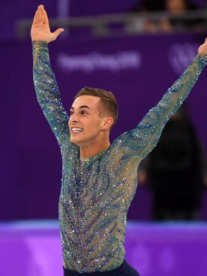 Adam Rippon (USA) competes in the men's figure skating free skate program.
