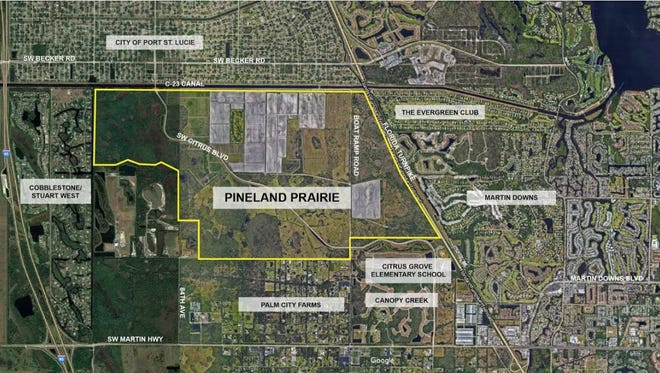 This map shows the boundaries of the nearly 3,400 undeveloped Pineland Prairie tract.