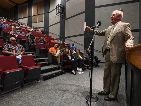 Powdersville resident Jim Forrester speaks out against the  incorporation of Powdersville during a town hall meeting at Powdersville High on Thursday, August 31, 2017.